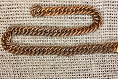 "vintage COPPER plated CHAIN flat 3/8"" rope twist purse handles braclets necklace"