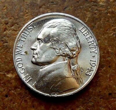 1943-D Jefferson Nickel Nice Uncirculated Coin With Full Mint Lustre