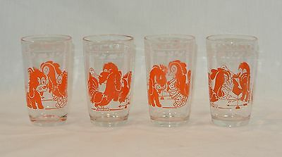 SWANKY SWIGS Glass KIDDIE CUP Tumblers Orange and White Set of 4