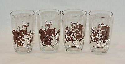 SWANKY SWIGS Glass KIDDIE CUP Tumblers Brown and White Set of 4