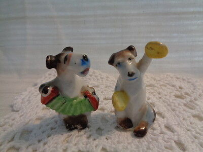 Lot Of 2 Vintage - Dogs Playing Instruments - Accordion / Cymbals - Japan