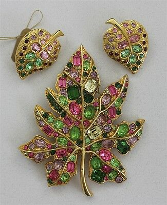 Vintage KENNETH JAY LANE Signed MAPLE LEAF Brooch & Earrings Rhinestones Pink