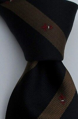 Dunhill London Black and brown  stripes &  logo  Silk tie Made in Italy