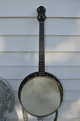 Original, Stella 4 String Tenor Banjo, 1920s, Oscar Schmidt, Fancy Inlay Back
