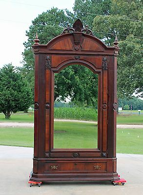 Large Victorian Walnut One Door Armoire Wardrobe Fancy Crest Orig. Mirror c1875
