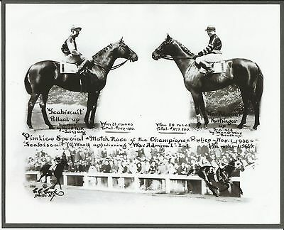 "1938 - SEABISCUIT vs WAR ADMIRAL - 3 Photo ""Match Race"" Composite"