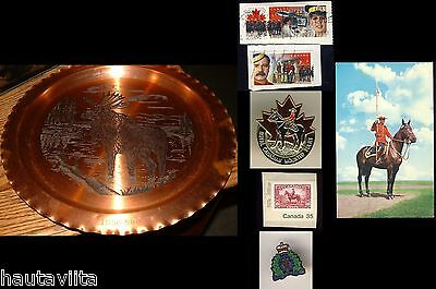 PrinceGeorge BC RCMP Mounted Police 1956 Retirement Copper Moose Plaque + Pins