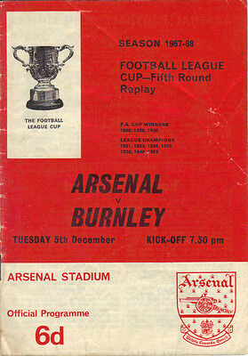 Arsenal v Burnley 1967/68 League Cup 5th round replay