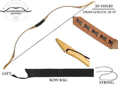 20-110lb Ali Bow Handmade Hungarian Pigskin Longbow Archery Hunting Recurve Bow