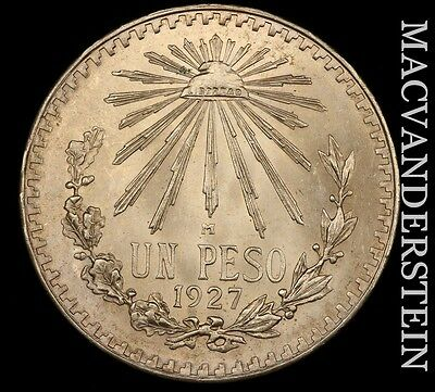Mexico: 1927 One Peso- Choice Gem Brilliant Uncirculated Ms+++++ !! #h3900