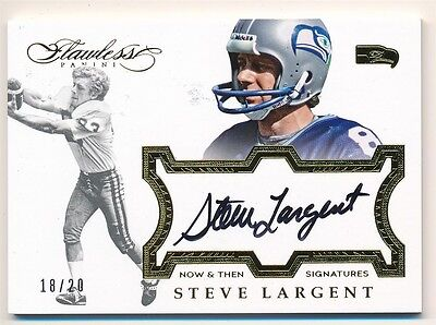 Steve Largent 2016 Panini Flawless Then Now On Card Autograph Sp Auto 18/20 $100
