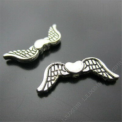 20pc Heart Angel wings Spacer Beads Retro Tibetan Silver Jewellery Making S195T