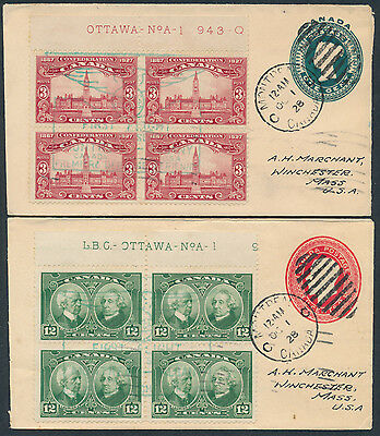 1928 AAMC #2847 Two Montreal to Albany Flight Covers, Resized PSEs, Plate Blocks