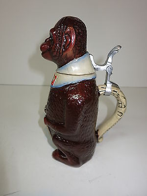 Figural Character Pottery Beer Stein Tankard Monkey Chimpanzee Mettlach Qlty