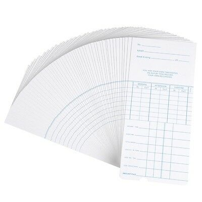 100x Weekly Time Clock Cards Timecard for Employee Attendance Payroll Recorder