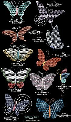 """SET 5 """"BUTTERFLY & DRAGONFLY"""" LACE for MACHINE EMBROIDERY DESIGN, FAST EMAIL"""