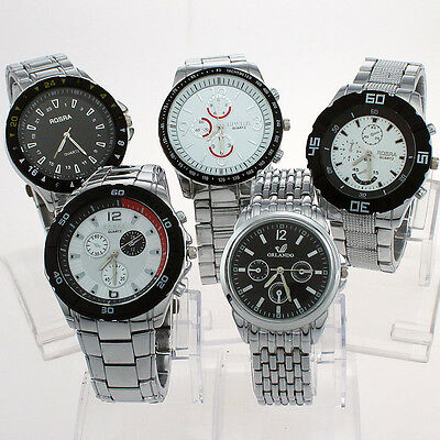 Bulk 10pcs Different Fab Men Luxury Alloy Band Quartz Wristwatch Mixed NST