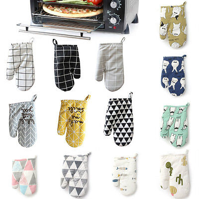 Cotton Heat Resistant Oven Mitt Insulated Cooking Oven Baking BBQ Oven Gloves