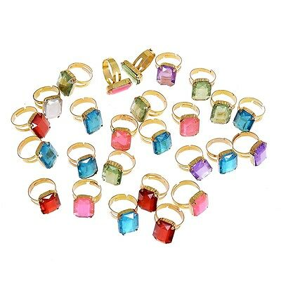 30Ps Wholesale Mixed Lot Crystal Rings Girls Princess Children Resin Lucite Ring