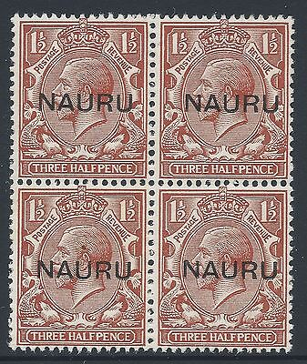 1923 NAURU 1½d RED BROWN BLOCK OF 4 FINE MINT MNH/MUH SG15