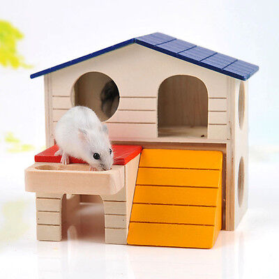 Bwogue Pet Small Animal Hideout Hamster House Deluxe Wooden Hut Play Toys Chew