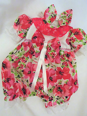 "Dream Girls 0-3 Months Cerise  Floral Romper & Headband Or 20-24"" Reborn Dolls"