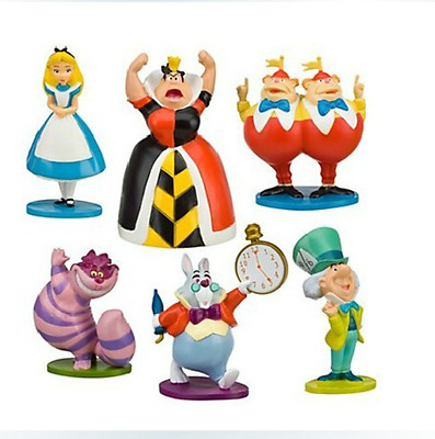 6 Pcs/Set Alice in wonderland PVC Rabbit Cheshire Cat Hatter 2.5in mini figures