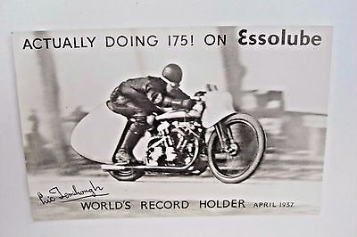Advertising Postcard Essolube EC Fernihough World Record Motorcyclist 1937 VGC