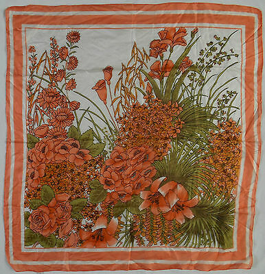 "APRICOT & WHITE FLORAL, HAND-ROLLED SILK 27"" SQUARE, 1970s VINTAGE SCARF"