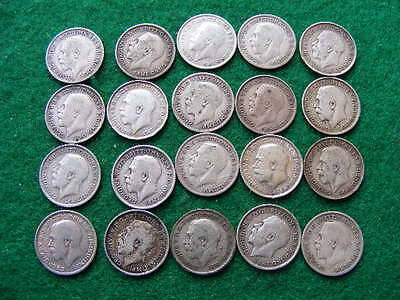 Silver Threepences Job Lot of 20 George V Pre 1920 mixed condition as pictured