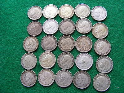 Silver Threepences Job Lot of 25 Acorn Type including 1928 & 1930 as pictured