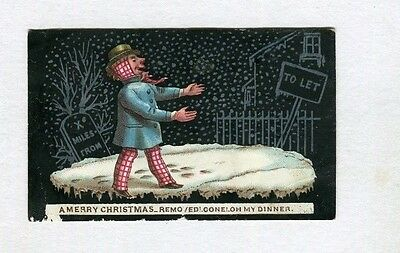 Victorian Christmas card , small ,early ,Man in snow , Humorous,