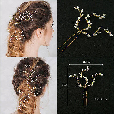 Gold Plated Imitated Pearl Hair Clips Pins Hair Combs Gifts Presents For Women