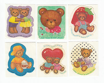 Vintage CTP Scratch and Sniff Matte Sticker Lot of Six - Grape Rose Strawberry