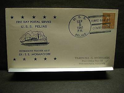 USS PELIAS AS-14 Naval Cover 1941 NICHOLSON FIRST DAY POSTAL SERVICE Cachet FDPS