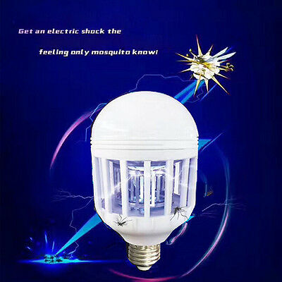 Lamp Anti-Mosquito LED Bulb 15W Electronic Insect Fly Lure Kill Trap Bait Lamp A
