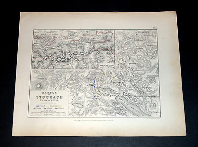 BATTLE OF STOCKACH - NAPOLEONIC WARS 25/3/1799 ALISON'S ATLAS map 24