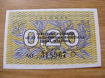A 1991  Lithuania 0.2 Talonas Banknote -  UNC  -  very crisp -