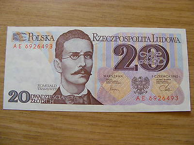 A 1982 Poland 20 Zlotych Banknote -  UNC  very crisp