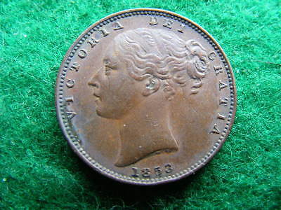 1853 Victoria Farthing raised WW edge nick, good VF