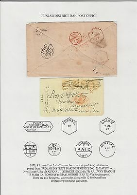 INDIA 1873, 8AS RATED CVR u PUNJAB/DISTRICT DAK/POST OFFICE No23/DATED + others