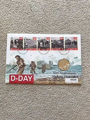 GB Stamps FDC D Day With 50 pence Coin - 50th Anniversary 1994