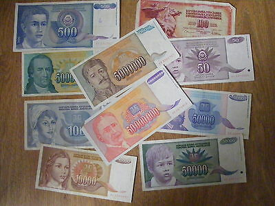 10 x Yugoslavia Banknotes all different, Used - includes a  5 & 50 Million note,
