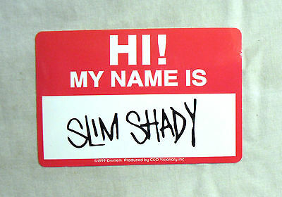 RARE Vinyl STICKER Decal EMINEM My Name Is Slim Shady RED S672 10cm x 6.5cm