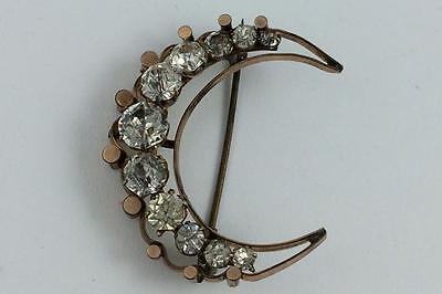 Victorian Antique Crystal Half-Moon Pin With Gold Front