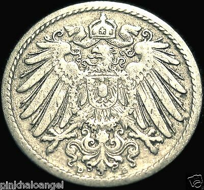Germany - German Empire - German 1899D 5 Pfennig Coin - Very Old Coin