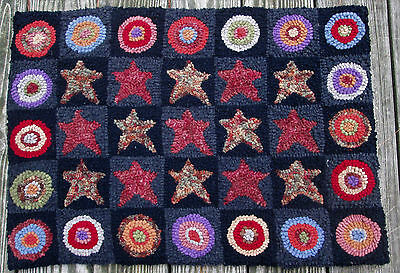 ANTIQUE STARS & PENNIES Large Primitive Rug Hooking KIT with cut wool strips