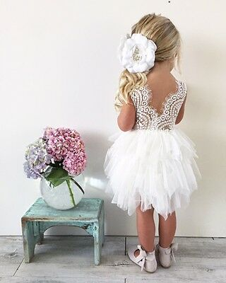 Flower Girl Dress Wedding White Petunia Little Girls Dresses New
