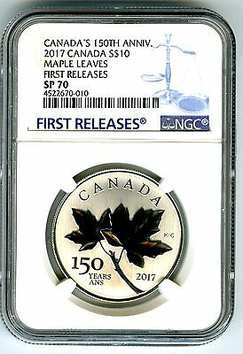 2017 Canada $10 150Th Annv Silver Ngc Sp70 Maple Leaf Leaves First Releases Blue