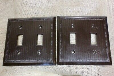 2 DOUBLE Switch Plates brown vintage plastic NEW OLD STOCK 1940's RELIANCE USA